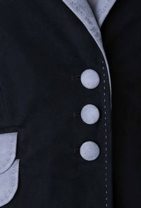 close up of jacket buttons