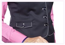 pink and black waistcoat